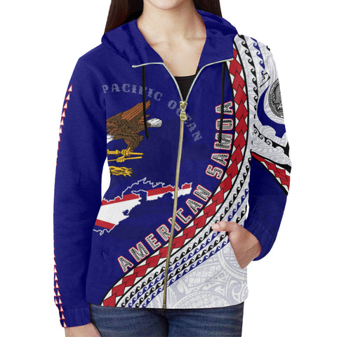 Image of American Samoa Zip Up Hoodie - American Samoa Map Generation IV Zip Up Hoodie - Dark Blue - Front - For Women