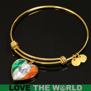 Ireland Crystal Flag Heart-shaped Bangle X7