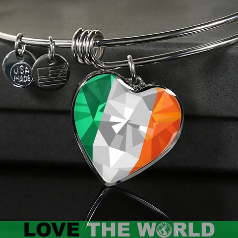 Ireland Crystal Flag Heart-Shaped Jewelries X7 Luxury Necklace (Silver)