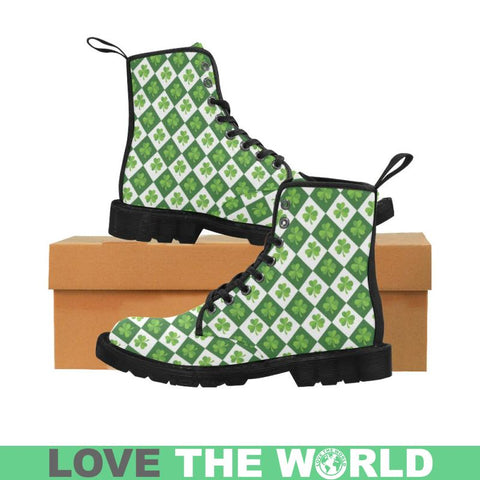 Ireland - Shamrock Pattern Martin Boots D5 Us6.5 / Martin Boots For Women (Black) (Model 1203H)