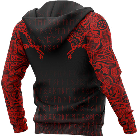 Vikings Hoodie - The Raven Of Odin Tattoo Special Red A7