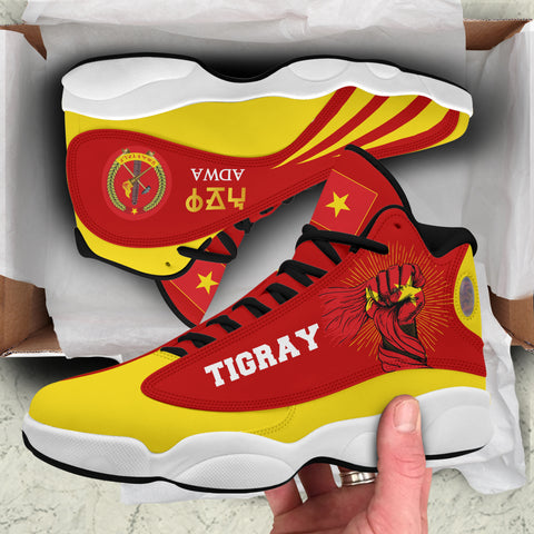 1stTheWorld Tigray Jordan 13 Shoes, Tigray Clenched Hand Raised Flag A10