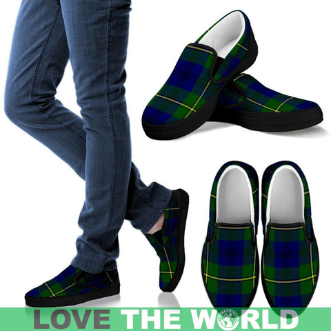 Image of Johnston Modern Tartan Slip Ons Womens Slip Ons - White / Us6 (Eu36)