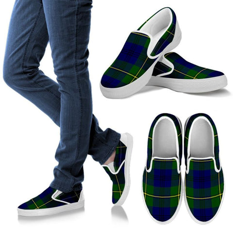 Johnston Modern Tartan Slip Ons Womens Slip Ons - White / Us6 (Eu36)