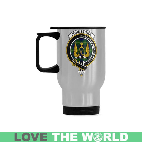 Image of Johnstone Tartan Clan Badge Travel Mug (Silver) | 1sttheworld.com
