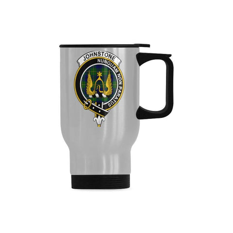 Johnstone Tartan Clan Badge Travel Mug (Silver) | 1sttheworld.com