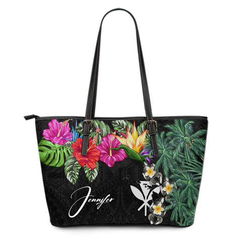 (Custom) Kanaka Maoli (Hawaiian) Leather Tote - Hibiscus Turtle Tattoo Black Personal Signature A02