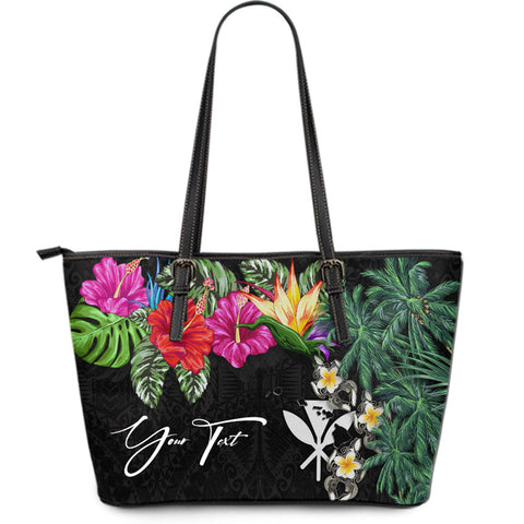 Image of (Custom) Kanaka Maoli (Hawaiian) Leather Tote - Hibiscus Turtle Tattoo Black Personal Signature A02
