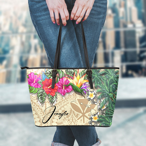 Image of (Custom) Kanaka Maoli (Hawaiian) Leather Tote - Hibiscus Turtle Tattoo Beige Personal Signature A02