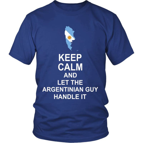 Image of Keep Calm Argentinian Guy 3 District Unisex Shirt / Royal Blue S T-Shirts