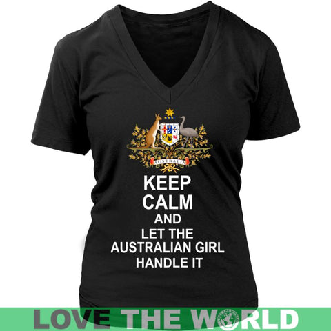 Image of Keep Calm Australian Girl G5 Gildan Womens T-Shirt / Black S T-Shirts