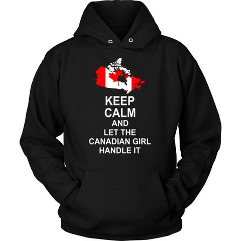 Keep Calm Canadian Girl 3 Unisex Hoodie / Black S T-Shirts