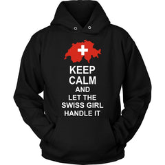 Keep Calm Swiss Girl 3 Unisex Hoodie / Black S T-Shirts