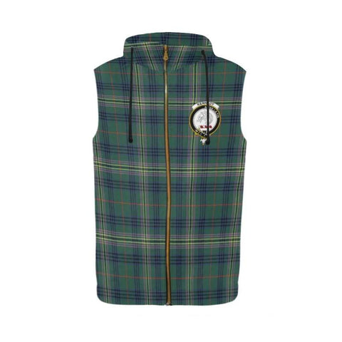 KEITH MODERN TARTAN SLEEVELESS ZIP UP HOODIE