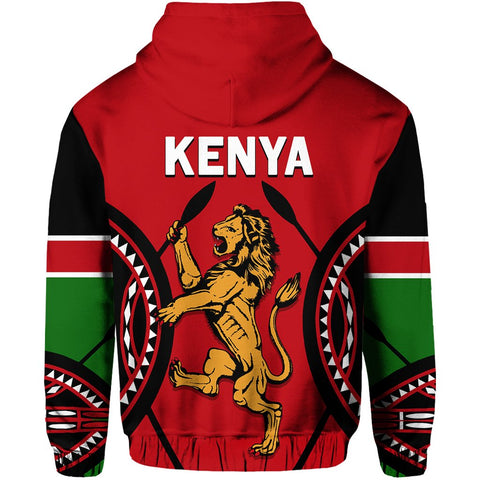Kenya Lion Zip Hoodie Maasai Shield back | Clothing | Love Kenya