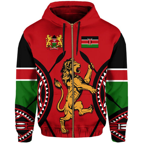 Image of Kenya Lion Zip Hoodie Maasai Shield | Clothing | Love Kenya