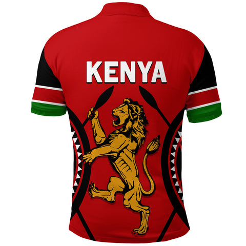 Image of Kenya Lion Polo Shirt Maasai Shield back