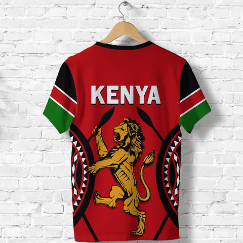 Kenya Lion T Shirt Maasai Shield back | Clothing | Love Kenya