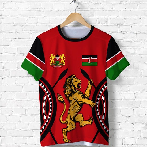 Image of Kenya Lion T Shirt Maasai Shield | Clothing | Love Kenya