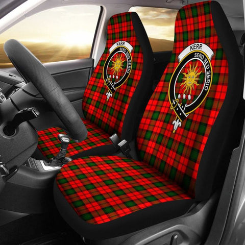 Kerr Tartan Car Seat Cover - Clan Badge