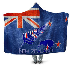 KIWI NEW ZEALAND FLAG HOODED BLANKET - BN01