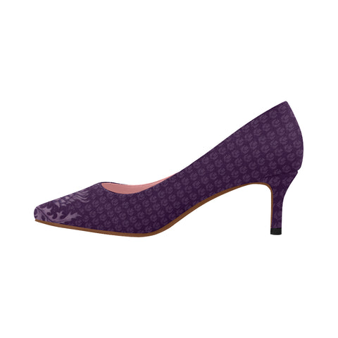 Scotland Low Heel Pumps - Purple Thistle A9 |Footwear| 1sttheworld