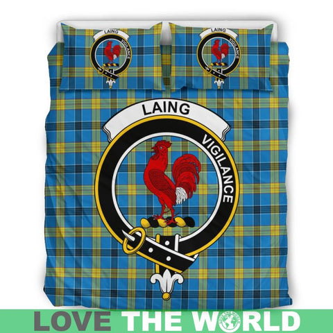 Image of Laing Tartan Clan Badge Bedding Set Ha9 Bedding Set - Black Black / Queen/full Sets
