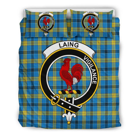Image of Laing Clan Badge Tartan Bedding Set Ha9 Bedding Set - Black Black / Queen/full Sets