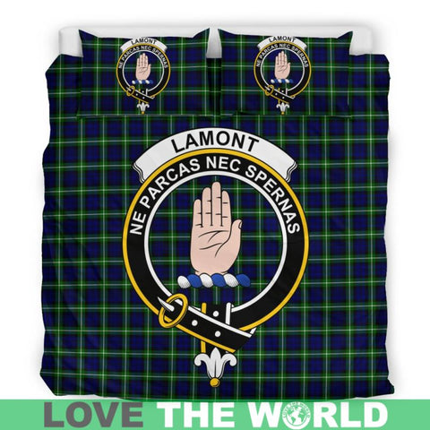 Lamont Modern Tartan Clan Badge Bedding Set Ha9 Bedding Set - Black Black / Queen/full Sets