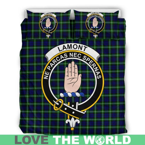 Image of Lamont Modern Tartan Clan Badge Bedding Set Ha9 Bedding Set - Black Black / Queen/full Sets