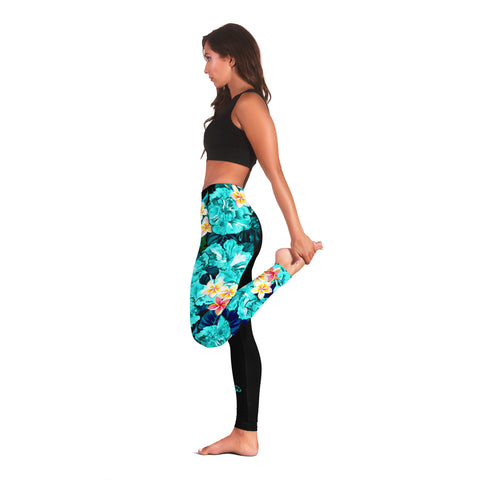 Image of (Custom) Hawaii Leggings, Polynesian Hibiscus Turtle Palm Leaves Blue Personal Signature I Love The Word