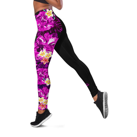 Hawaii Leggings, Polynesian Hibiscus Turtle Palm Leaves Pink I Love The World