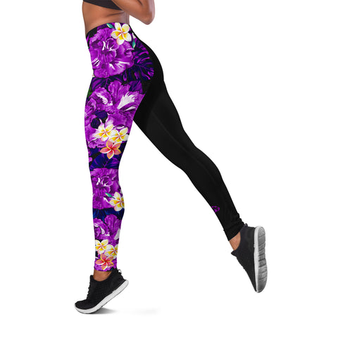 Image of (Custom) Hawaii Leggings, Polynesian Hibiscus Turtle Palm Leaves Purple Personal Signature I Love The Word