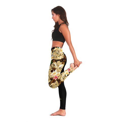 Image of (Custom) Hawaii Leggings, Polynesian Hibiscus Turtle Palm Leaves Gold Personal Signature I Love The Word