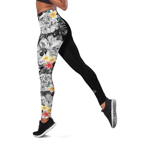 Image of (Custom) Hawaii Leggings, Polynesian Hibiscus Turtle Palm Leaves Gray Personal Signature I Love The Word