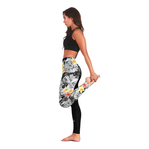 (Custom) Hawaii Leggings, Polynesian Hibiscus Turtle Palm Leaves Gray Personal Signature I Love The Word