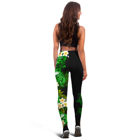 (Custom) Hawaii Leggings, Polynesian Hibiscus Turtle Palm Leaves Green Personal Signature I Love The Word