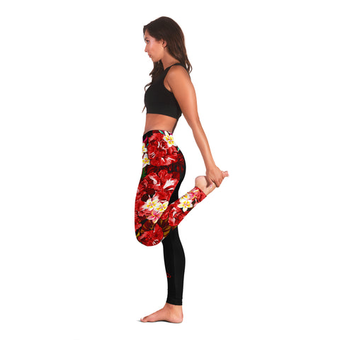 Image of Hawaii Leggings, Polynesian Hibiscus Turtle Palm Leaves Red I Love The World