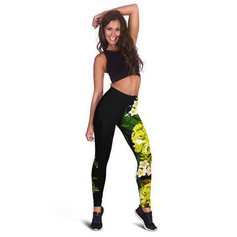 (Custom) Hawaii Leggings, Polynesian Hibiscus Turtle Palm Leaves Yellow Personal Signature I Love The Word