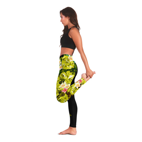 Image of Hawaii Leggings, Polynesian Hibiscus Turtle Palm Leaves Yellow I Love The World