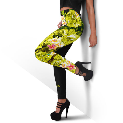 Hawaii Leggings, Polynesian Hibiscus Turtle Palm Leaves Yellow I Love The World