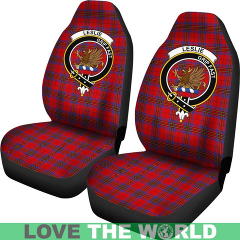 Image of Leslie Clan Badges Tartan Car Seat Cover Ha5