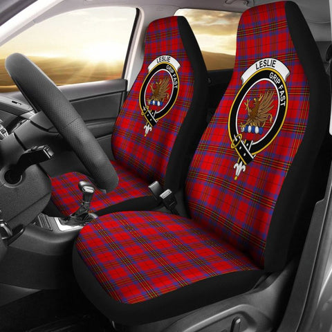 Image of Leslie Tartan Car Seat Cover - Clan Badge