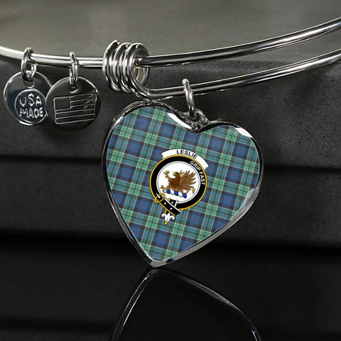 Leslie Hunting Ancient Tartan Silver Bangle - M8 Luxury Bangle (Silver) Jewelries