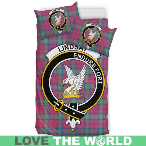 Image of Lindsay Ancient Tartan Clan Badge Bedding Set Ha9 Bedding Set - Black Black / Queen/full Sets