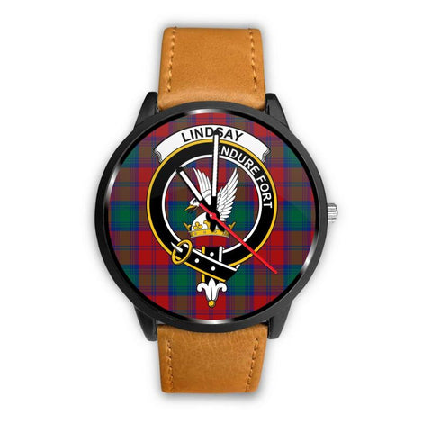 Lindsay Modern Clan Badge Tartan Leather/steel Watch - NN5 Mens 40Mm / Brown Leather-Steel Watches