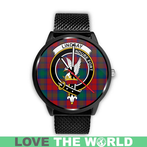 Lindsay Modern Clan Badge Tartan Leather/steel Watch - NN5 Mens 40Mm / Brown Watches