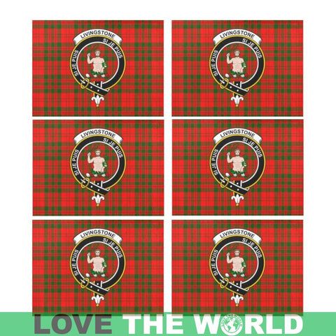 Image of Livingstone Modern Logo Tartan Placemat 14 Inch X 19 (Six Pieces) - Tk1 Placemats