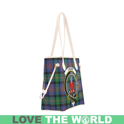 Logan Ancient Tartan Clan Badge Clover Canvas Tote Bag C33 Bags