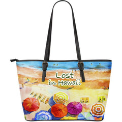 LOST IN HAWAII LARGE LEATHER TOTE BAG DM9